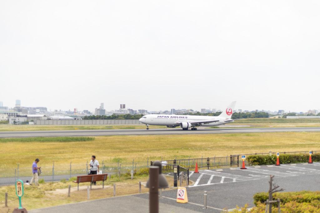 伊丹市にある伊丹スカイパークから見る伊丹空港に着陸する飛行機